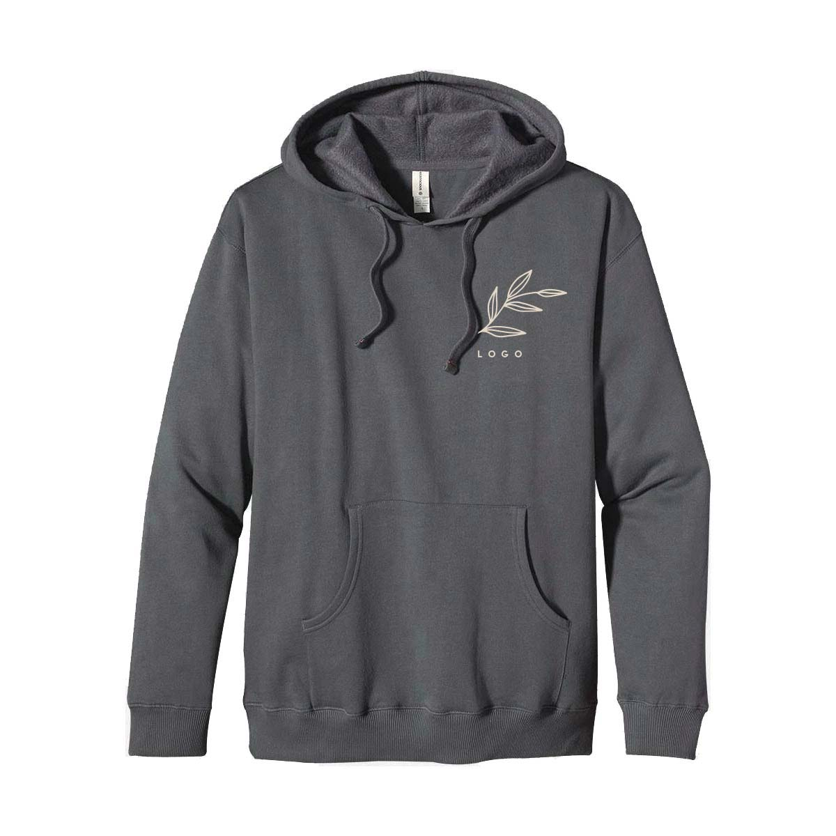 287550 organic recycled pullover hoodie one color one location imprint