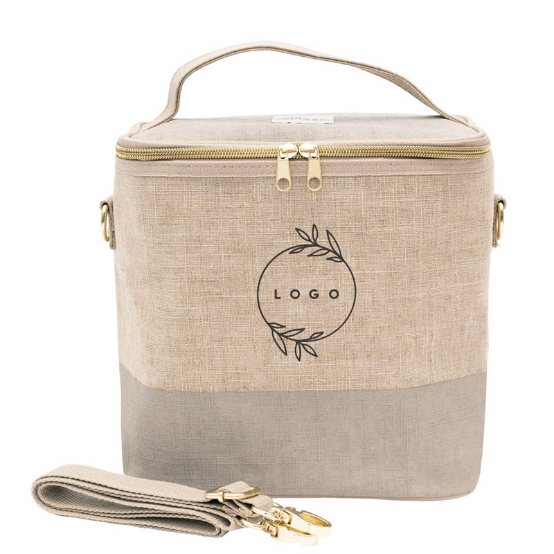287814 reusable linen lunch pouch one color one location silkscreen