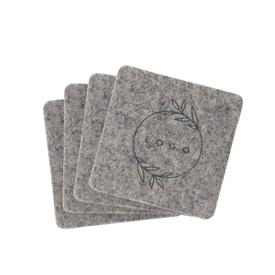 287070 recycled felt coaster set one location laser etched