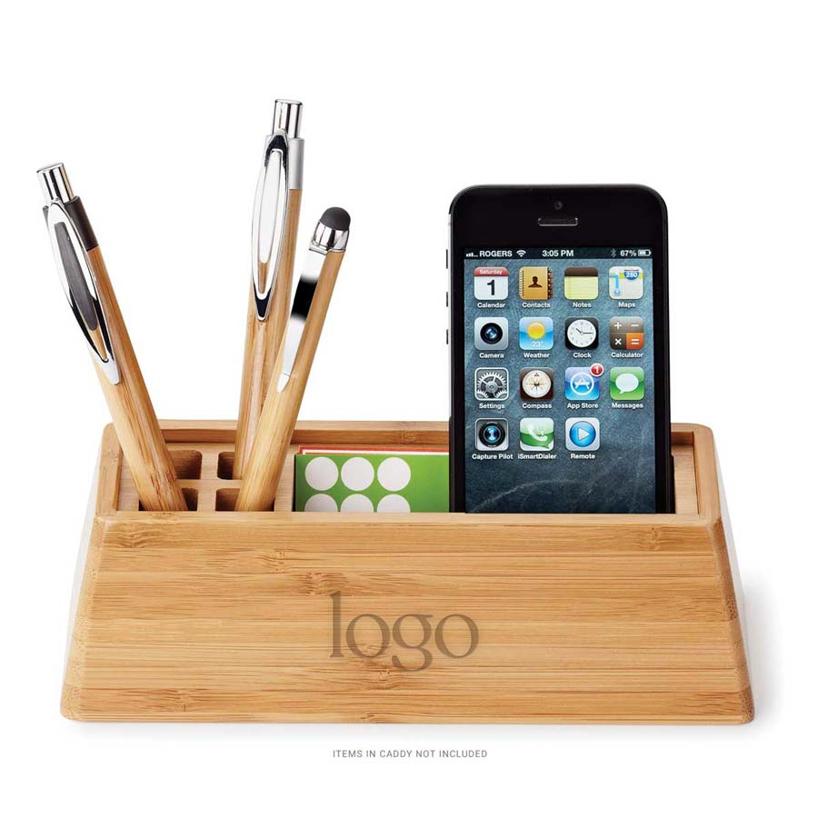 298558 bamboo desk caddy one location laser engraved