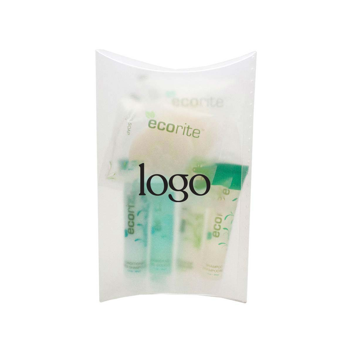 298536 eco amenity kit one color one location imprint on pillow box standard imprint colors