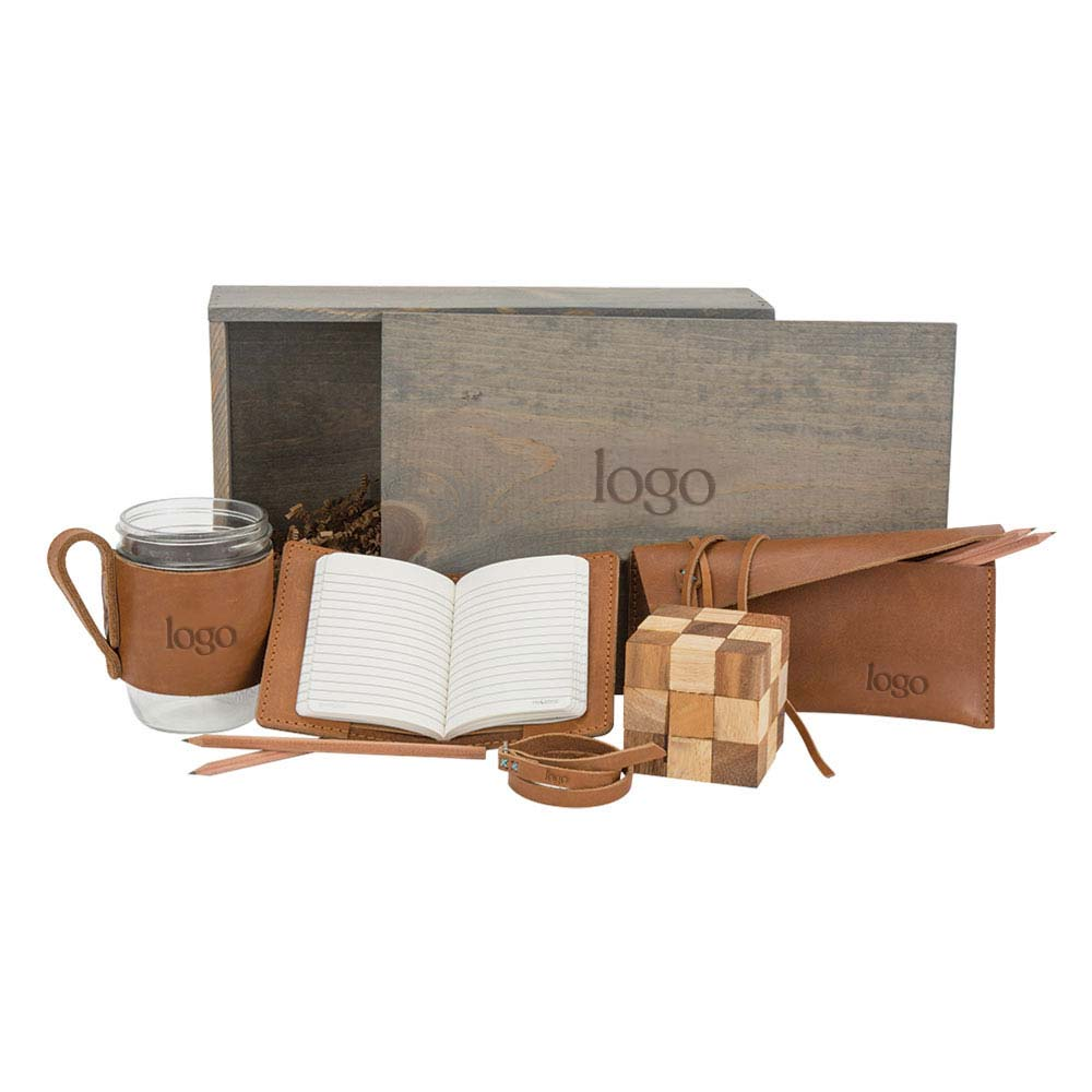 298690 dapper desk gift set one location deboss imprint on leather of each item