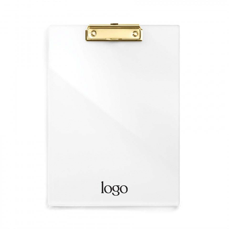 303143 clear acrylic and gold clipboard one color imprint