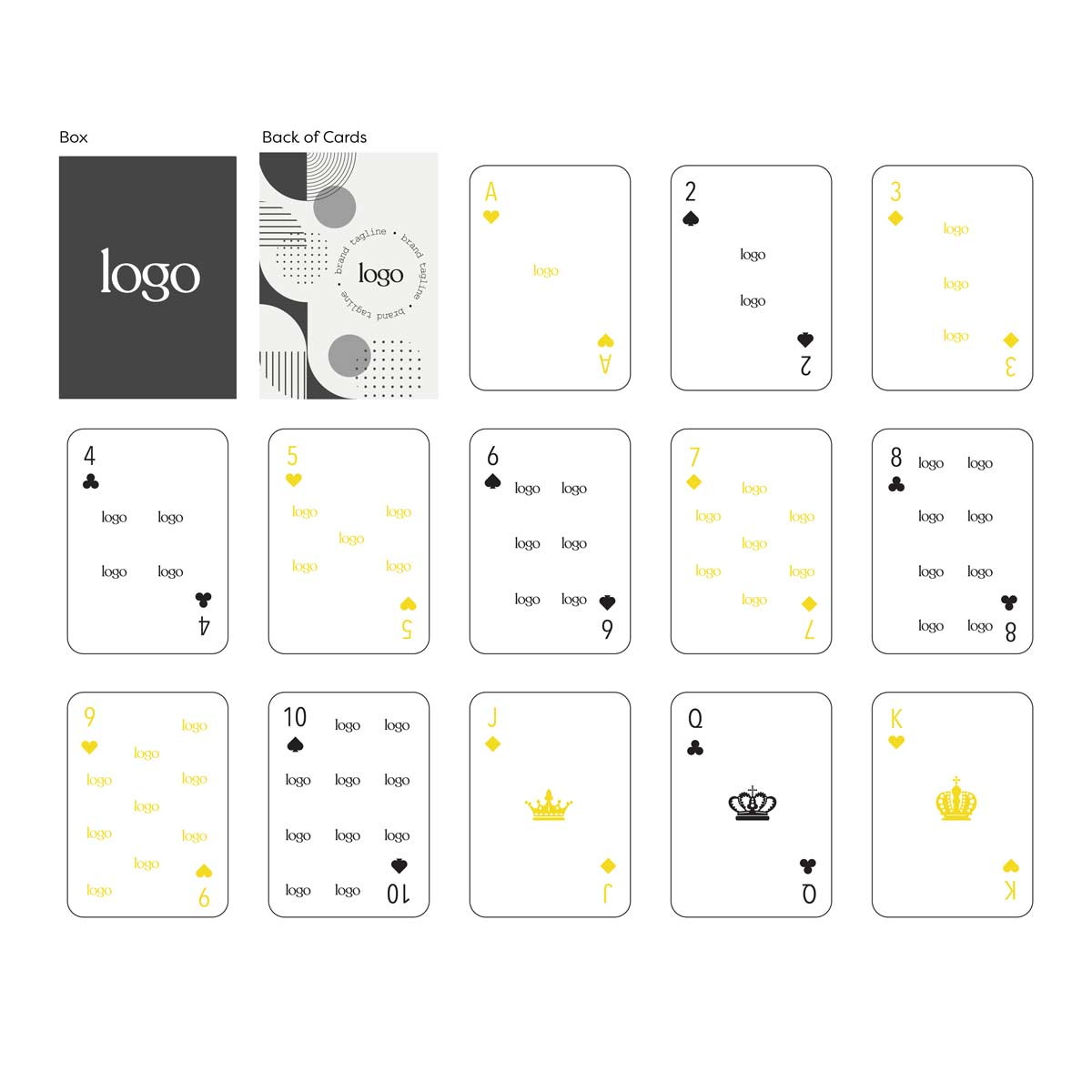 302311 custom playing card deck full color full bleed digital imprint one back design unique design for each card front clear acetate box