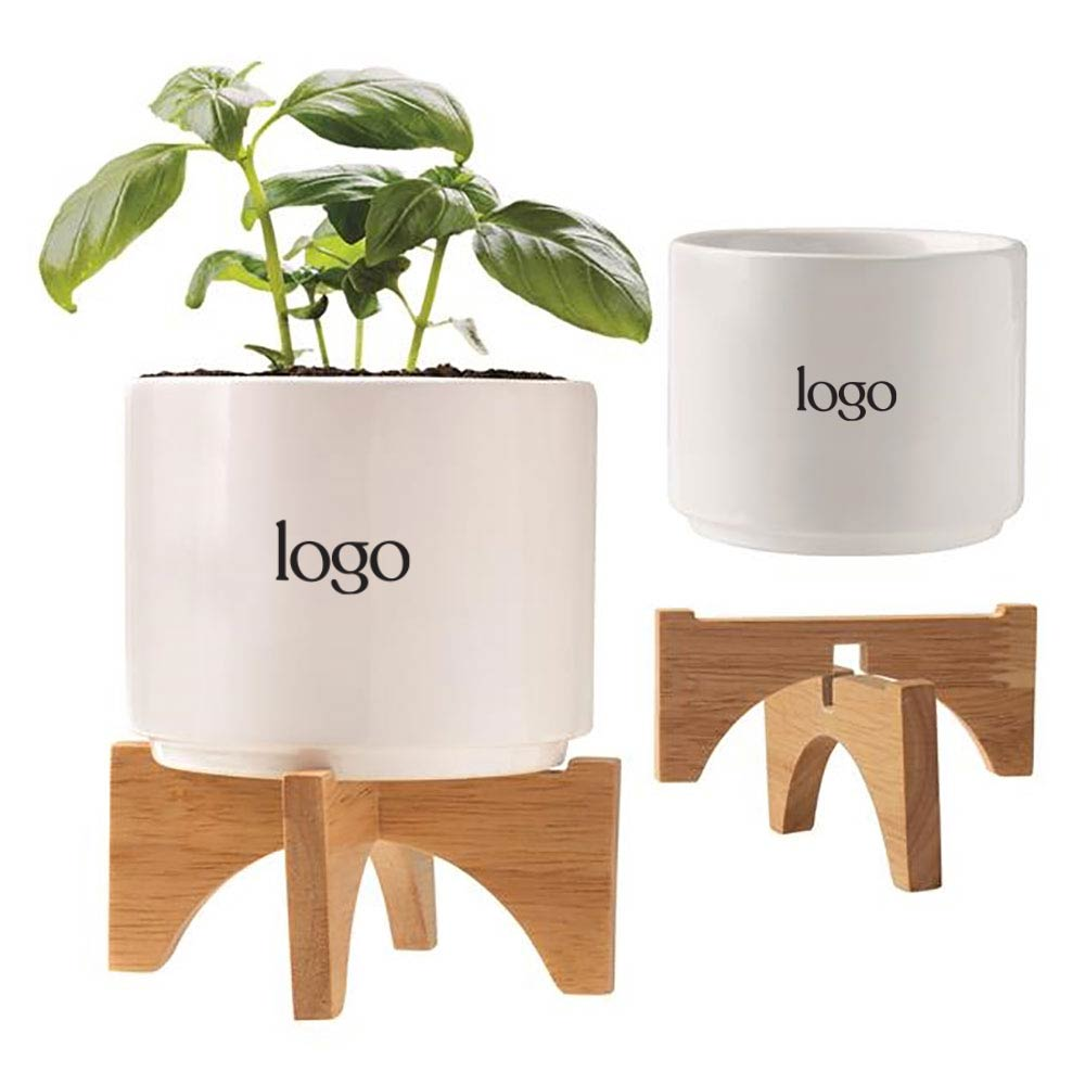 302644 mini ceramic planter set one color one location imprint