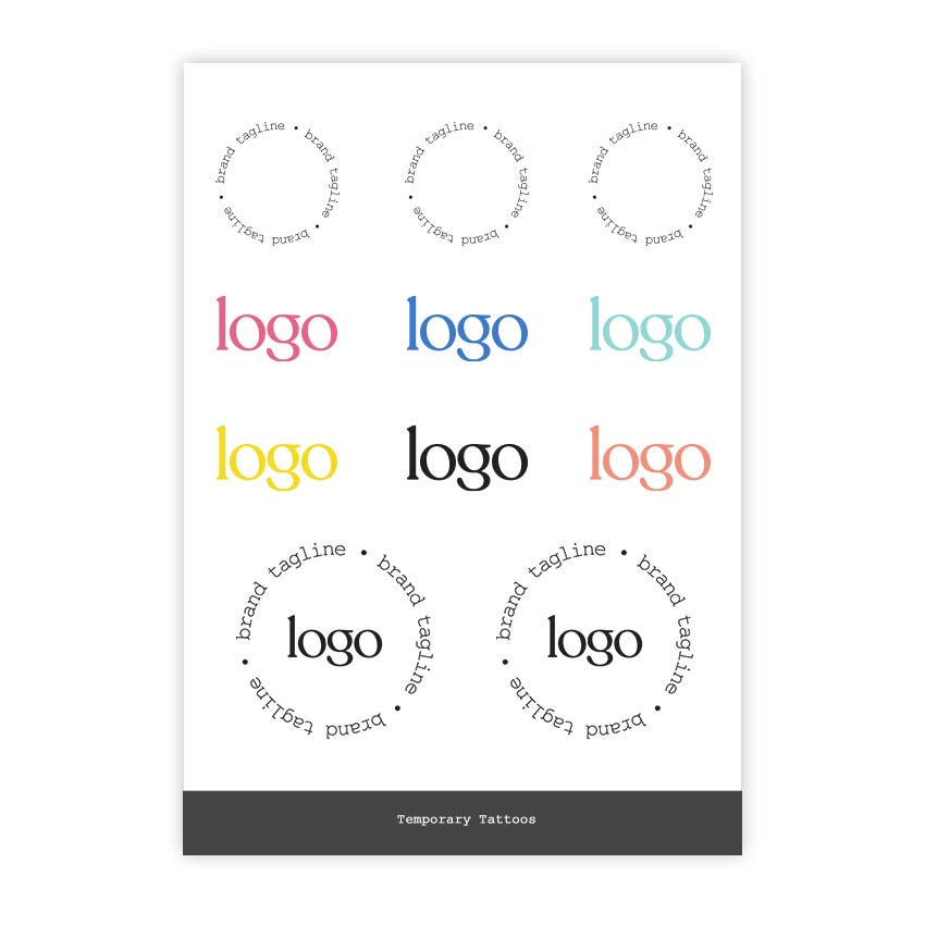 302336 custom temporary tattoos packaged in clear bag full color