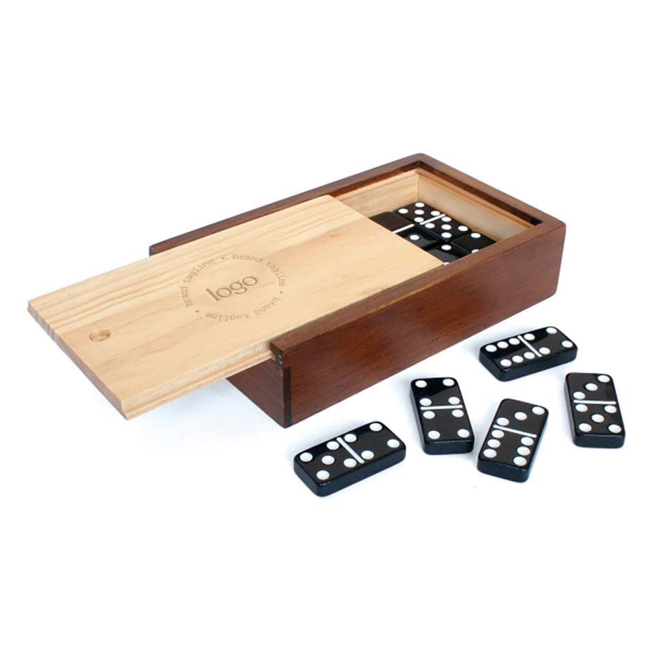302924 dominoes game set one location laser engraved or one color imprint
