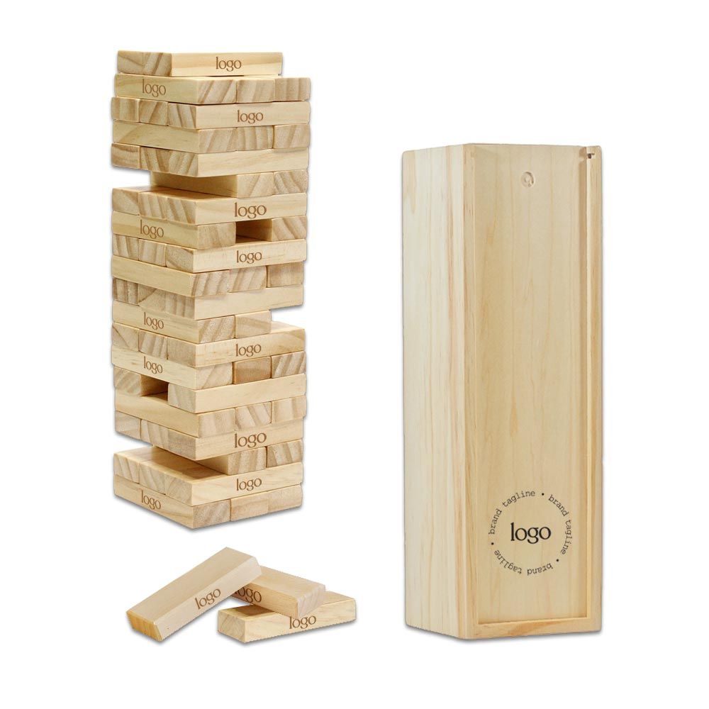 302316 tumbling tower game full color box one full color or laser engraving on each block