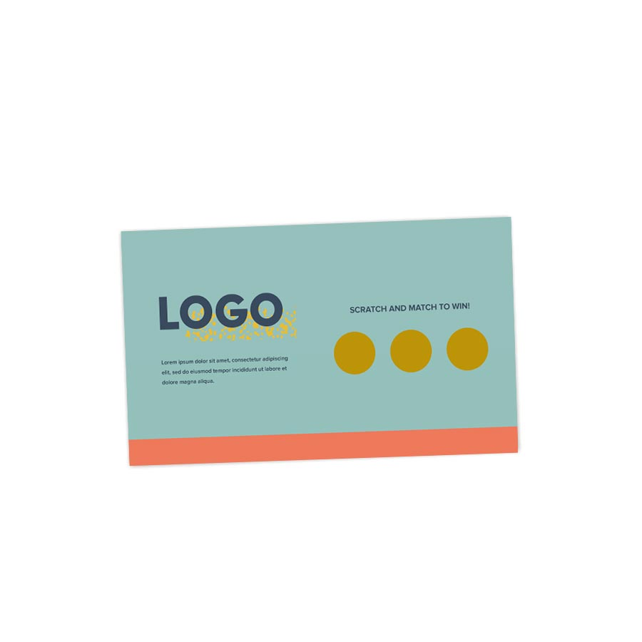 313684 struck scratcher card 2 x 3 5 full color front and back gold foil scratch on front any shape