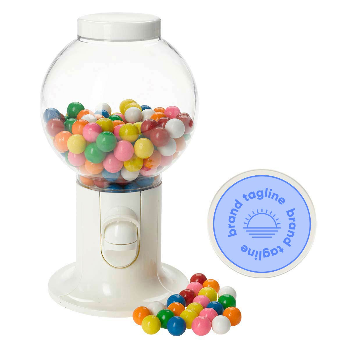 318186 gumball machine one location one color direct imprint or full color label