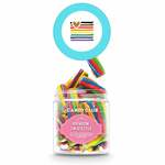 Medium 315542 mini candy jar full color label on top of lid must order in increments of 6