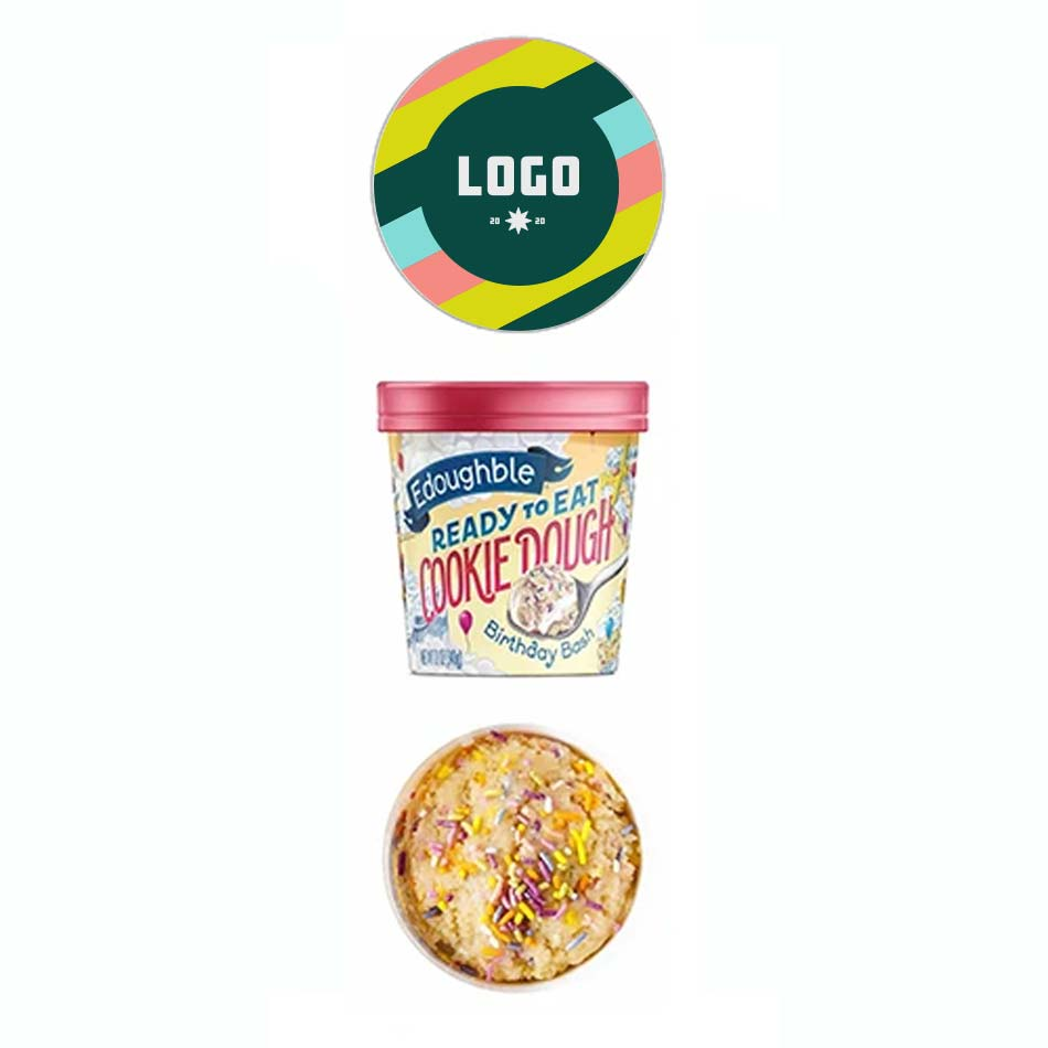 352970 12 oz edible cookie dough tub full color sticker on lid