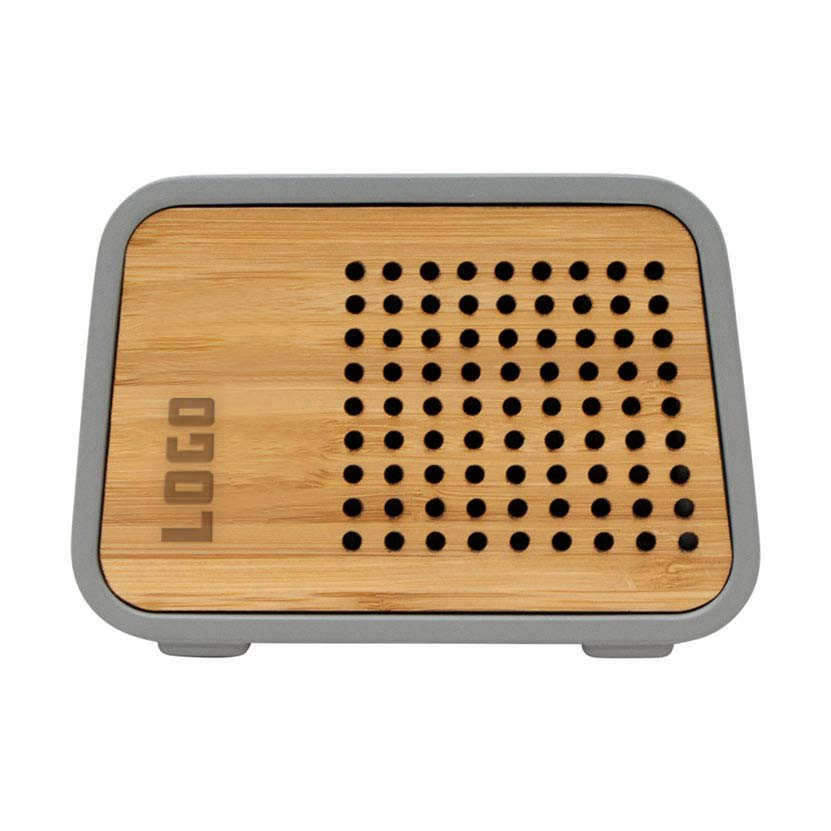 361688 concrete speaker and wireless charger laser engraved on bamboo plate