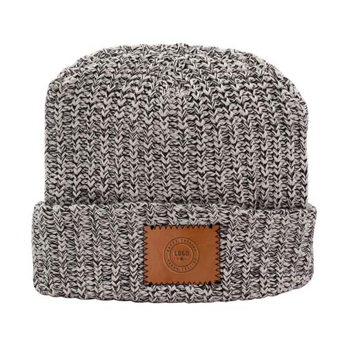 353191 cotton knit patch beanie one location blind deboss
