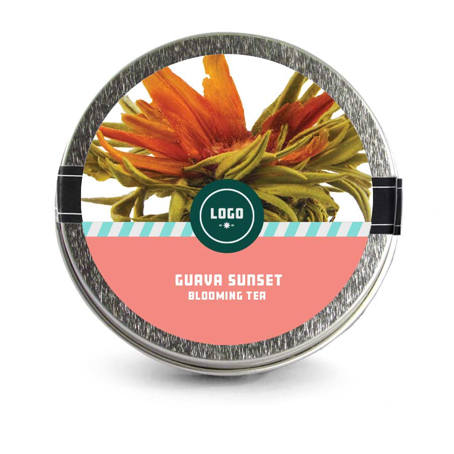 353197 mini blooming tea tin full color label