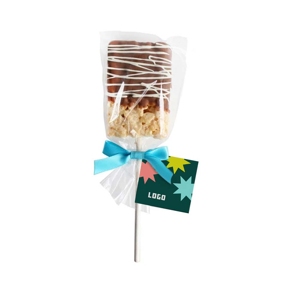 357276 drizzled rice krispy pop full color label or hang tag one side