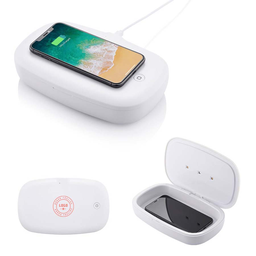 364267 boost phone sanitizer with wireless charger one color one location imprint