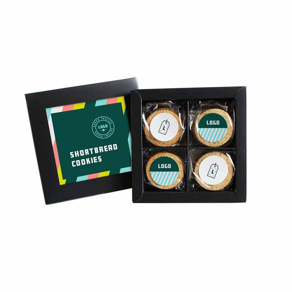 361687 gourmet shortbread cookie set full color label on box and each cookie stack choice of two flavors