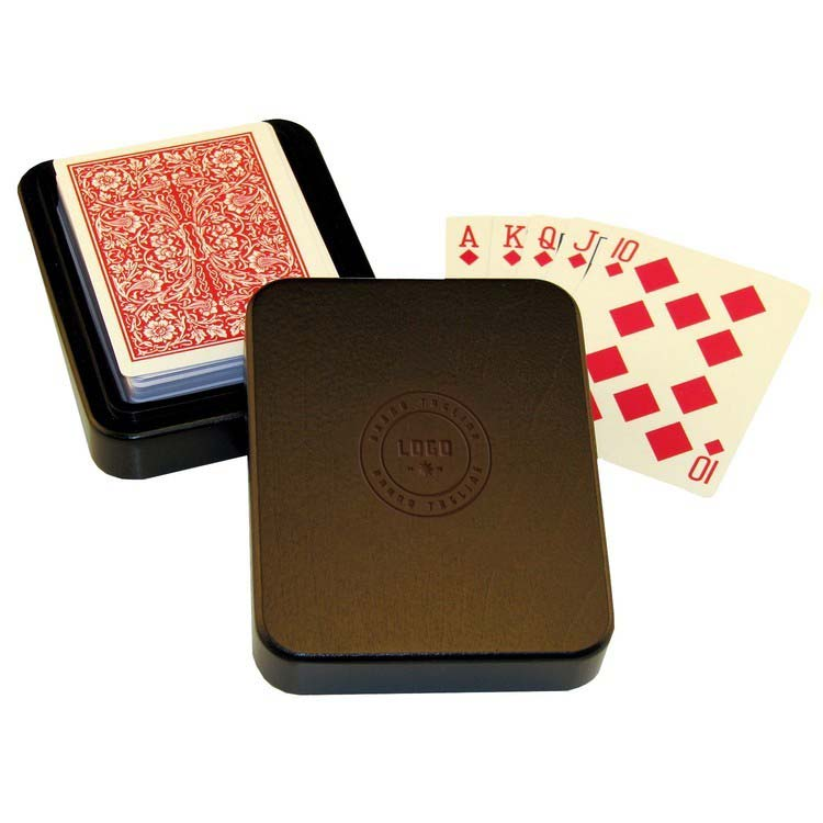 348175 wooden playing card box one location laser engraved