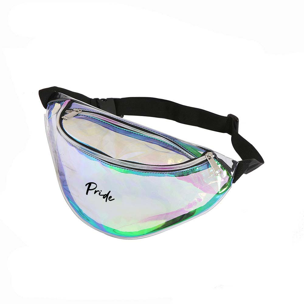 464833 holographic fanny pack one color one location imprint
