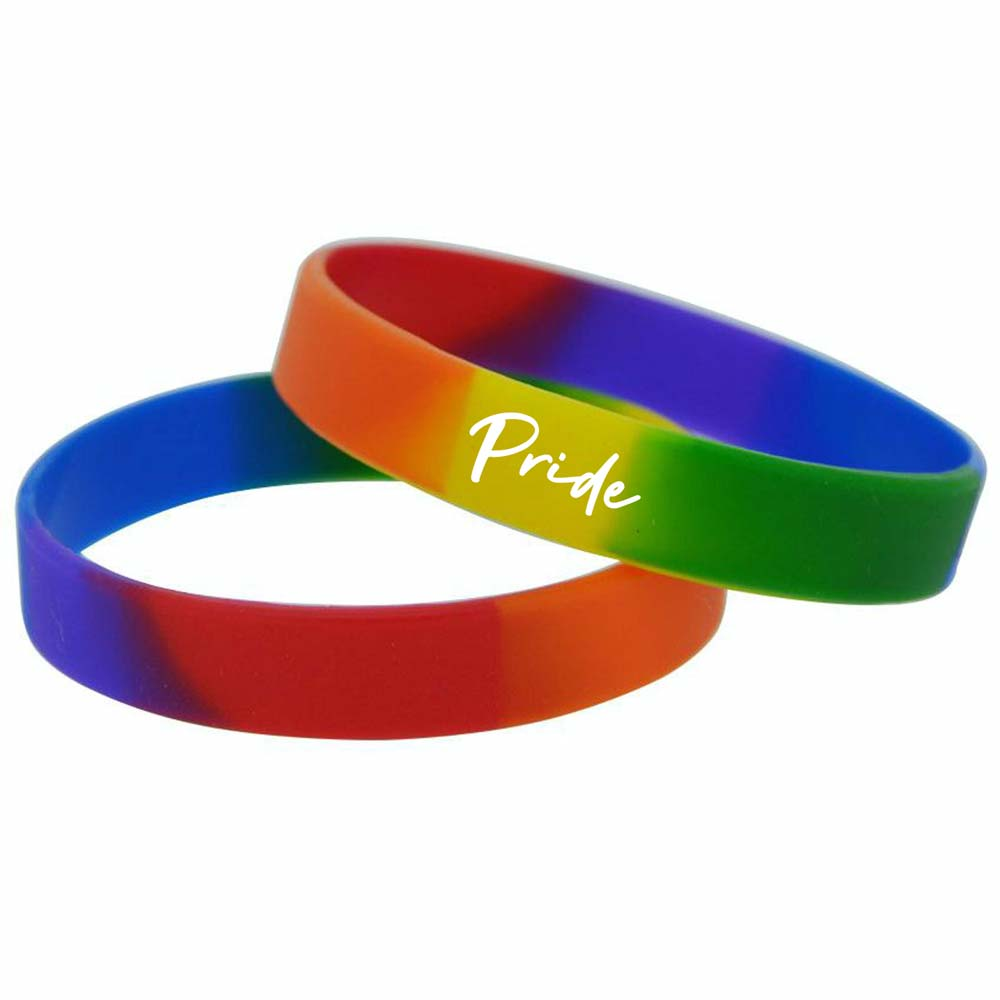 464852 rainbow silicone bands one location deboss or one color imprint