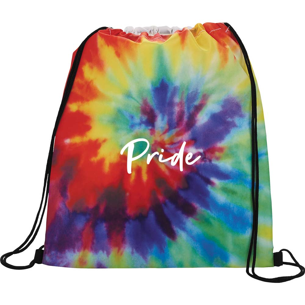 464855 tie dye drawstring bag one color one location imprint