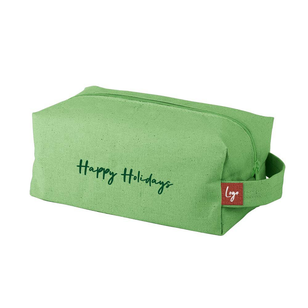 510953 premium canvas dippy dopp kit woven label two color one location full bleed choice of canvas color