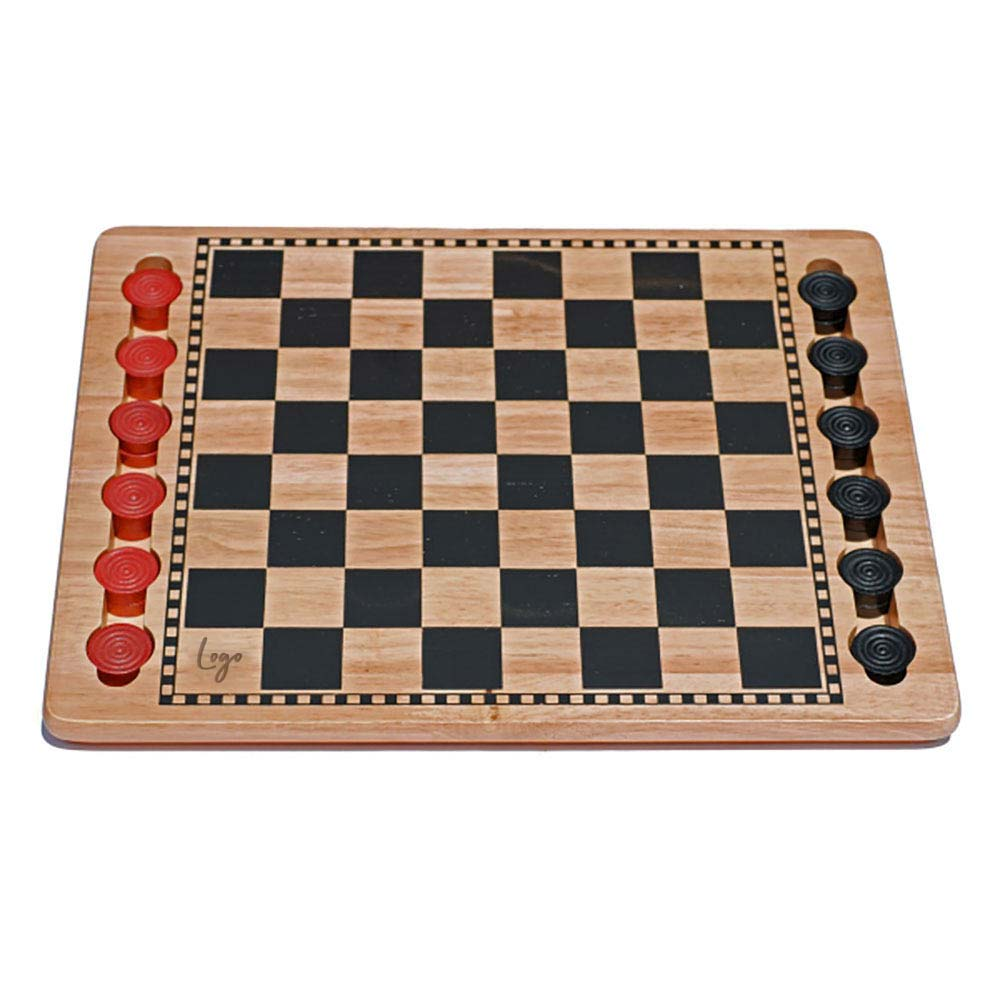 510918 solid wood checkers set laser engraved one location