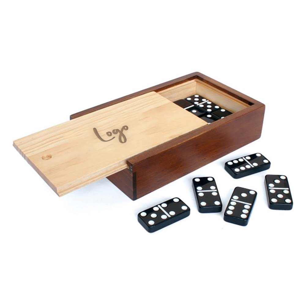 510943 dominoes game set laser engraved or one color imprint one location