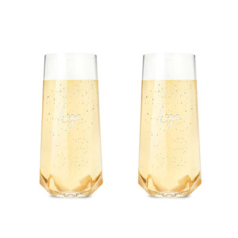510923 stemless champagne flute set one location laser engraved on one glass