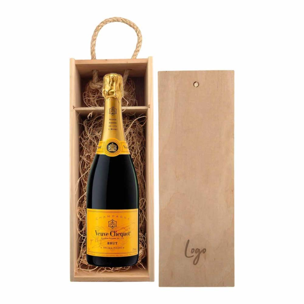 510956 veuve clicquot yellow label gift set one location laser engraved on box