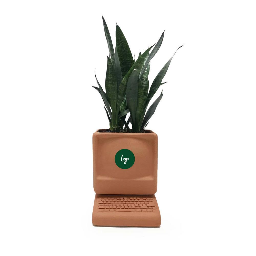 511016 small computer planter full color removable sticker