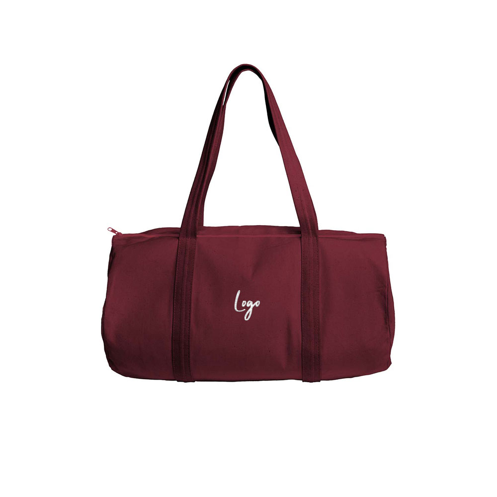 510881 colored canvas barrel duffel one location embroidery up to 5k stitches