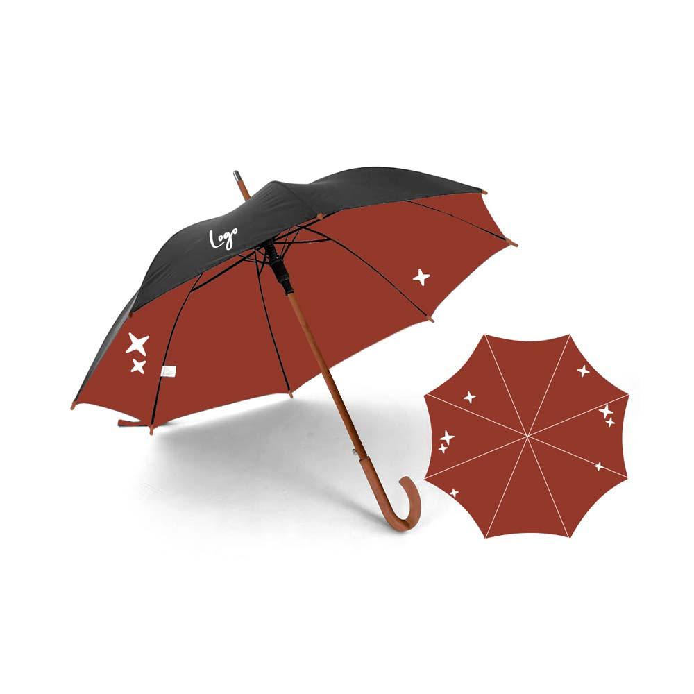 510974 essex custom umbrella full color digital imprint on interior canopy and one color two location imprint