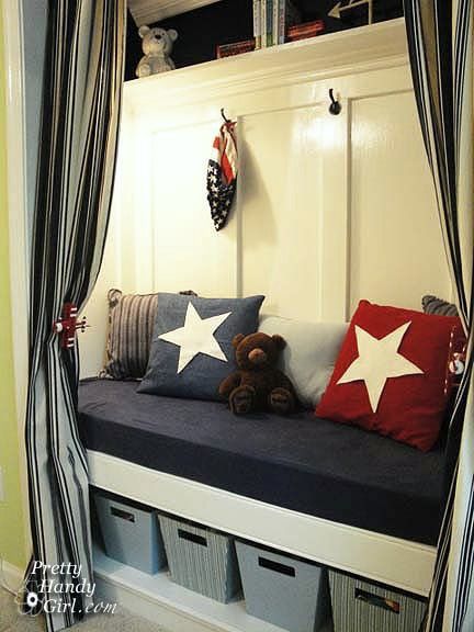 Closet Turned Reading Nook via Hometalker Brittany @Pretty Handy Girl