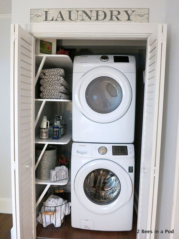 Laundry Closet Makeover via Hometalkers Vicki and Jennifer @2 Bees in a Pod