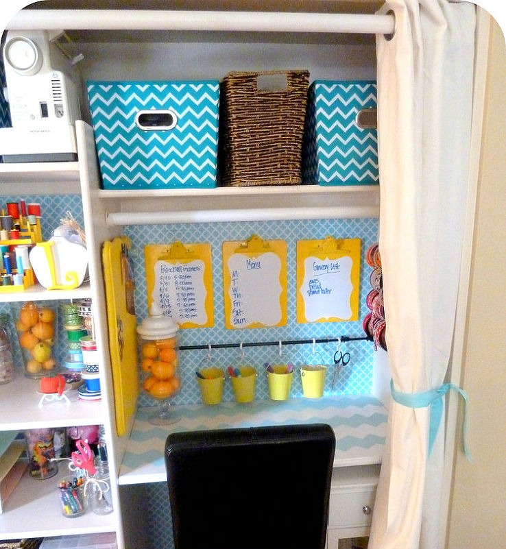 Coat Closet to Craft Room via Hometalker Lina @Fancy Frugal Life