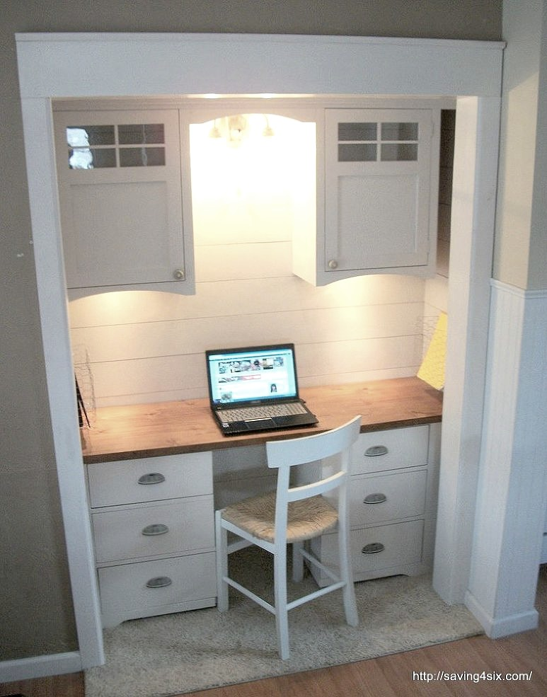 Closet Turned Office via Hometalker Carrie @Saving 4 Six