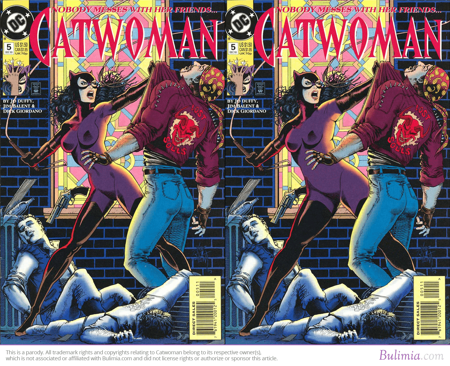 A Catwoman comic cover next to a reworked version