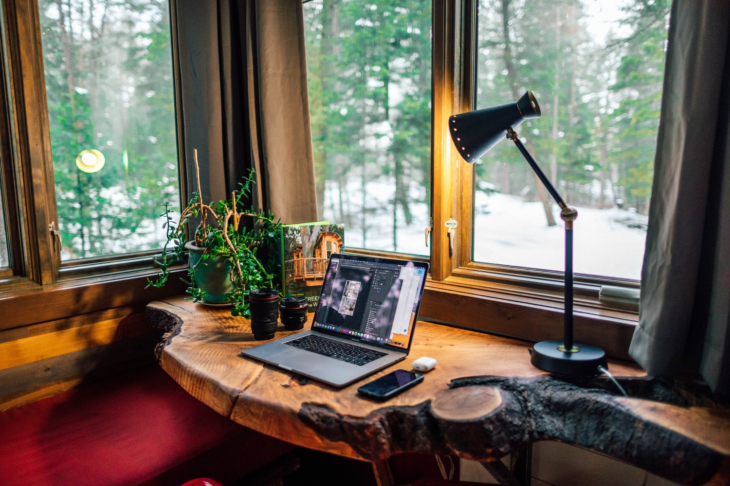 naturally lit workspace