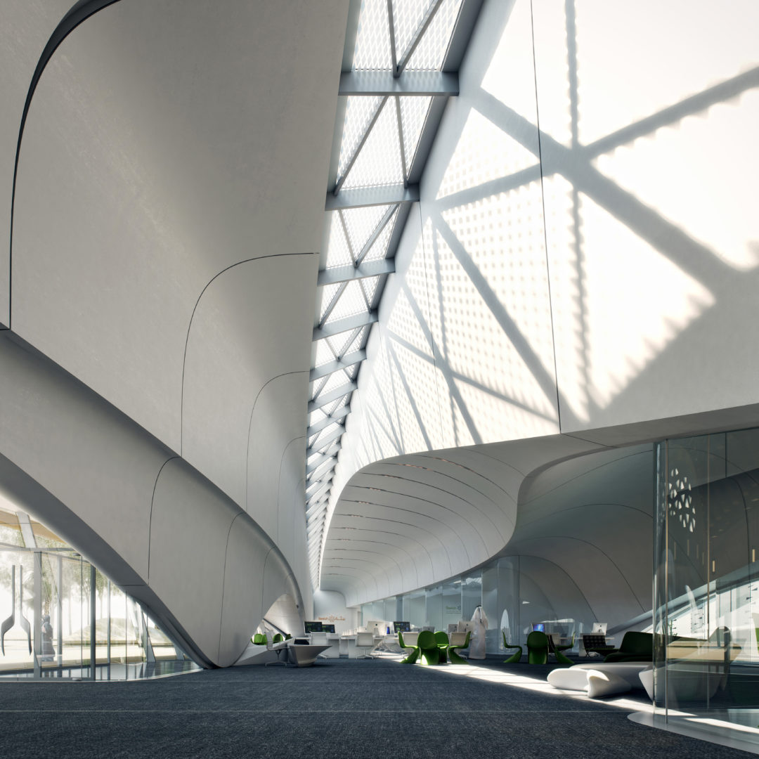 A render of the contactless pathways in Bee'Ah headquarters in Sharjah, UAE. Office designed by Zaha Hadid Architects.