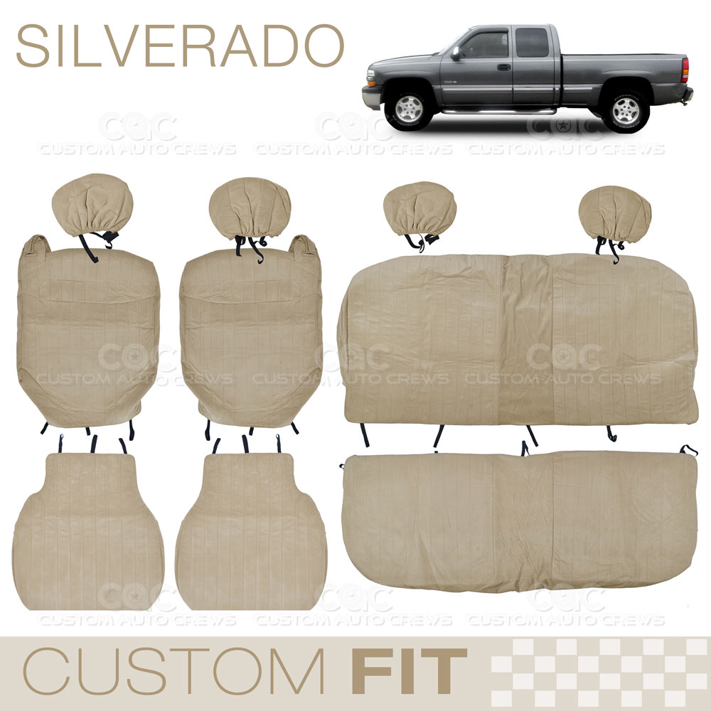 custom fit seat covers for chevy silverado 2000 to 2006 extended cab beige ebay. Black Bedroom Furniture Sets. Home Design Ideas