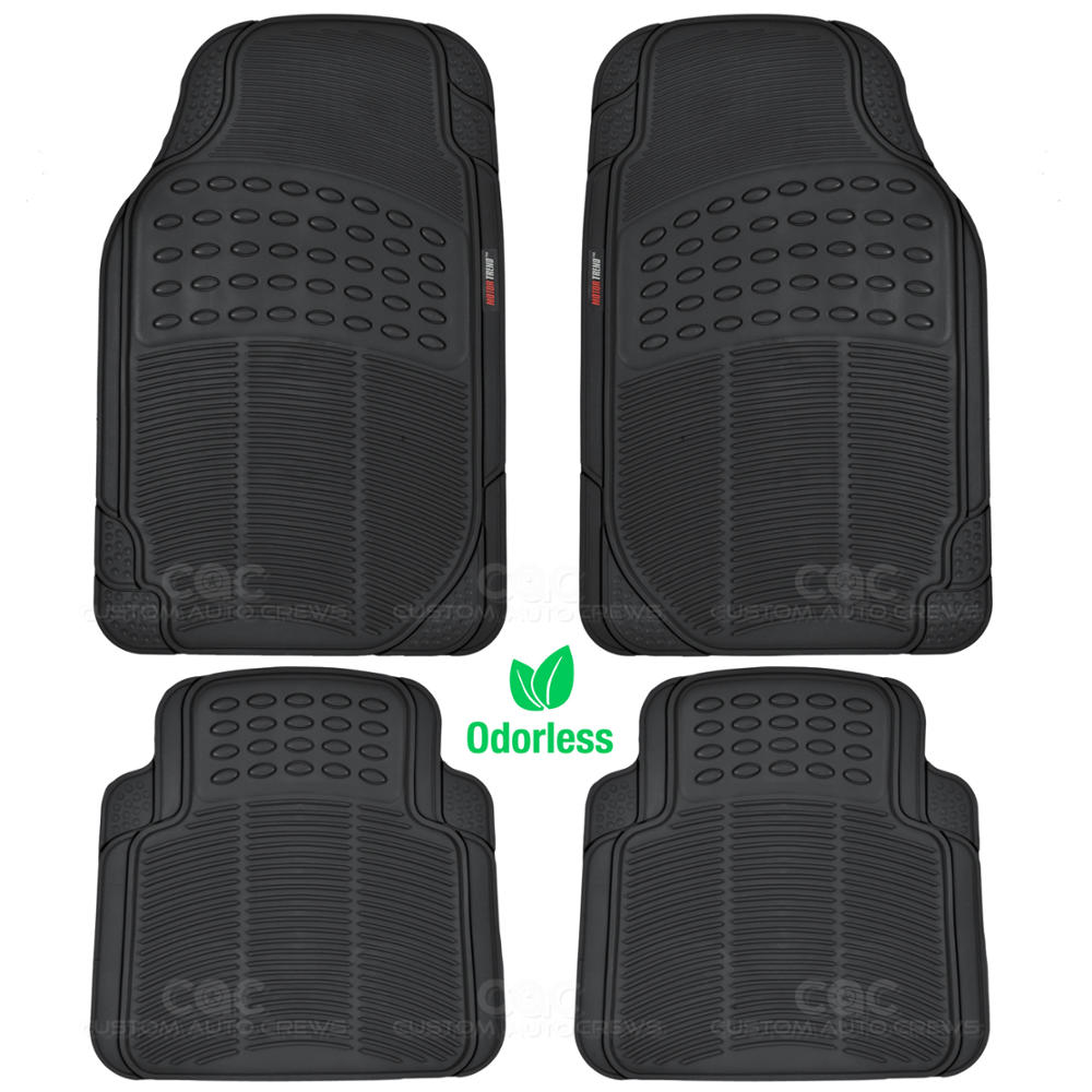 2 Pc Odorless Rubber Floor Mats 4 Pc Black Low Back PU Leather Seat Covers