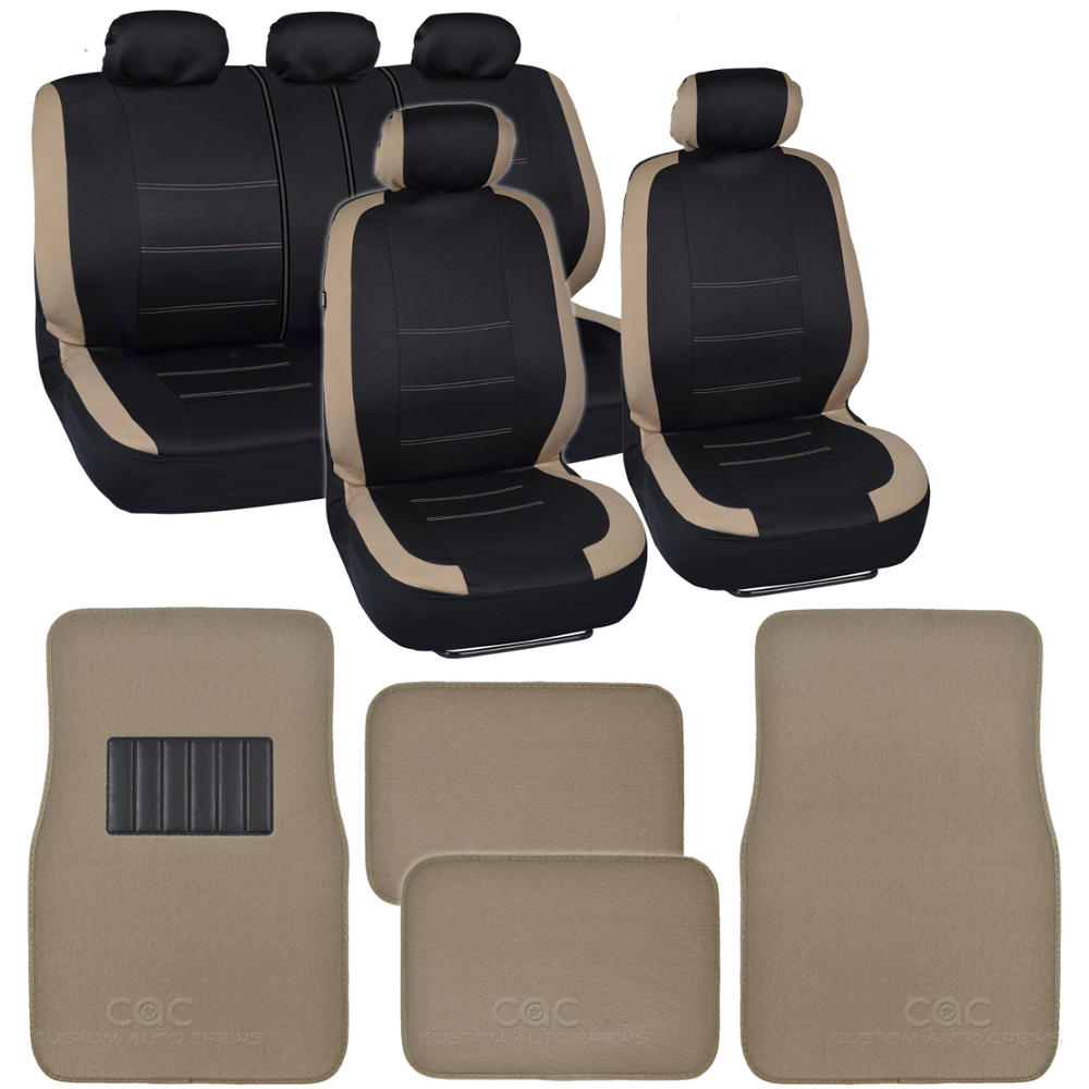 Two Tone Black & Beige Accent Stripes Car Seat Covers