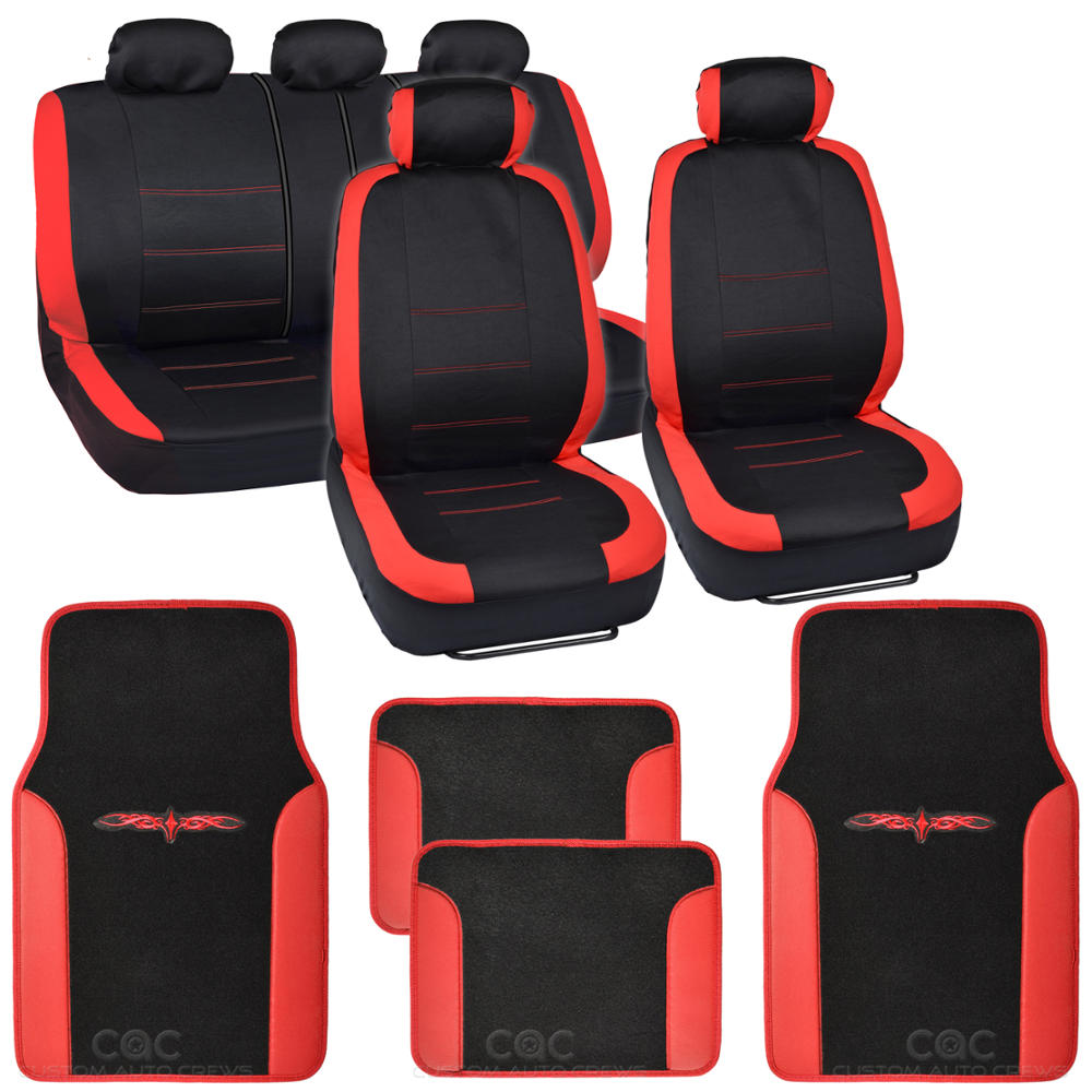Red On Flat Black Cloth Car Seat Covers Accent Design W Floor