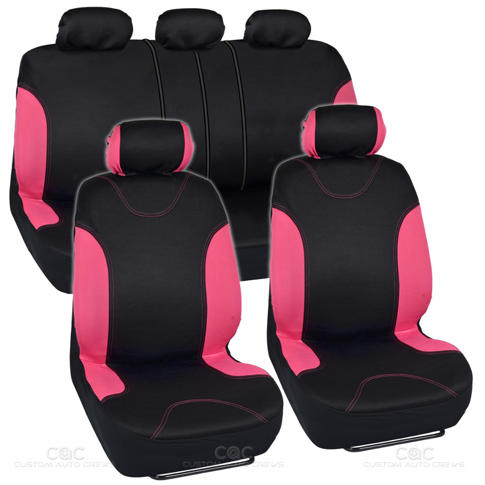 Flat Cloth Car Seat Covers Black Amp Pink Detail Stitching