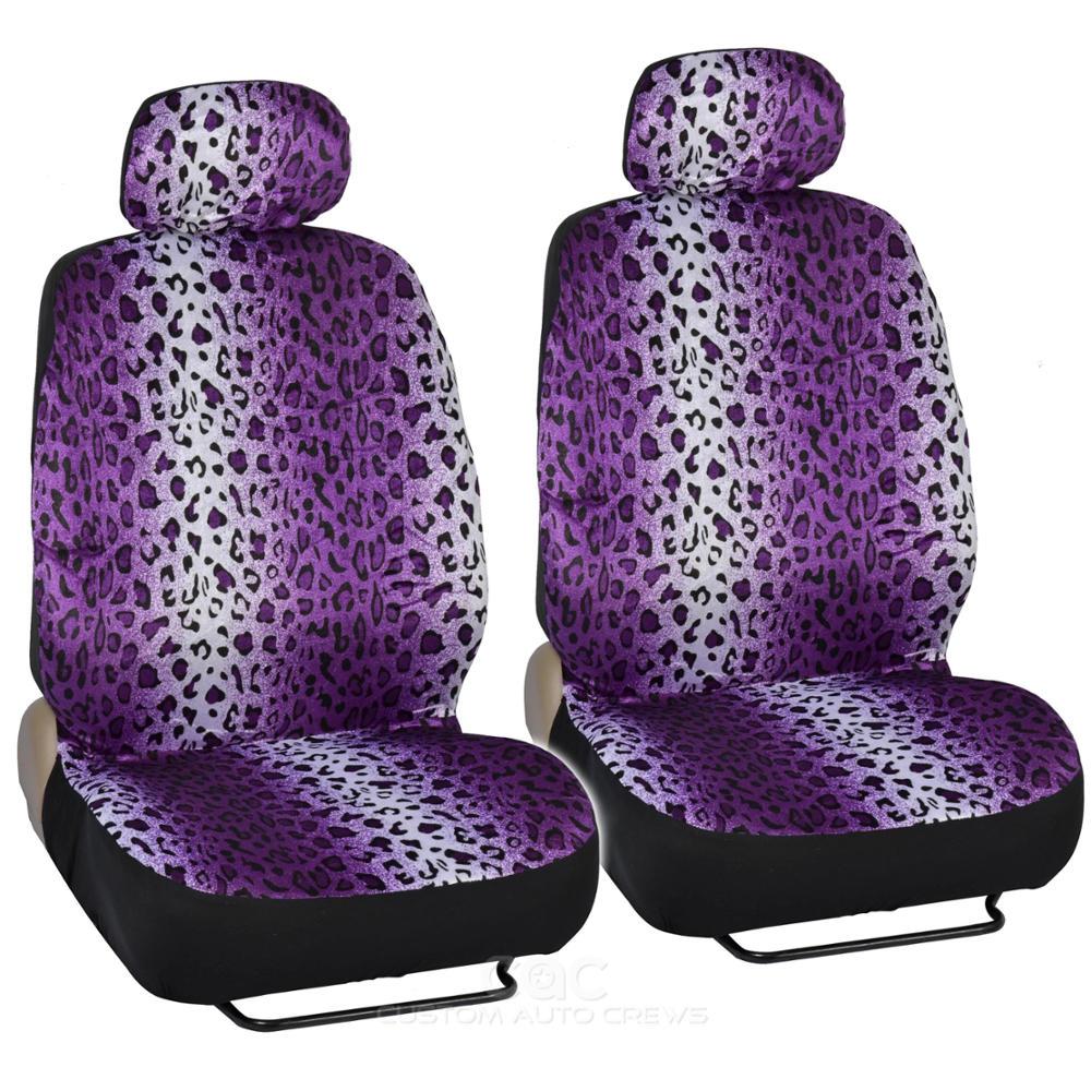 Car Seat Covers Purple Leopard Bench Split Option 5