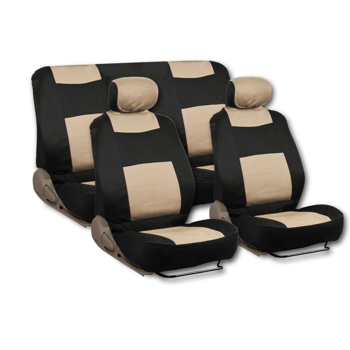 11 Piece Car Truck Seat Cover: Beige Type-R 9 Piece Front Car Seat Rear Bench Head Rest