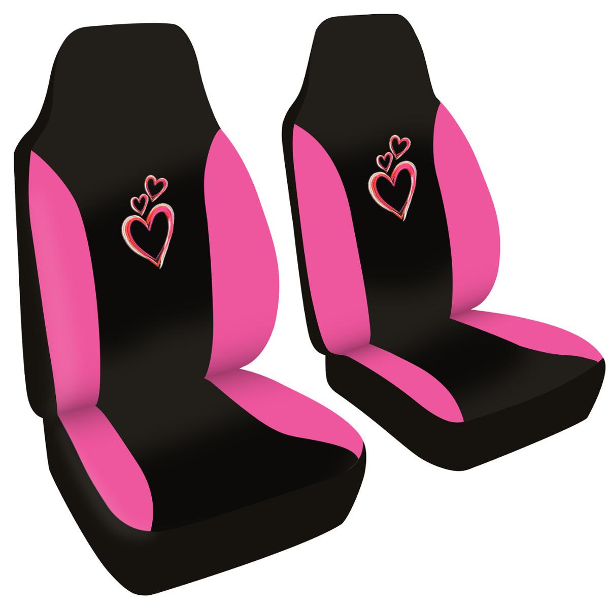 highback bucket car seat covers new love pink white red black ebay. Black Bedroom Furniture Sets. Home Design Ideas