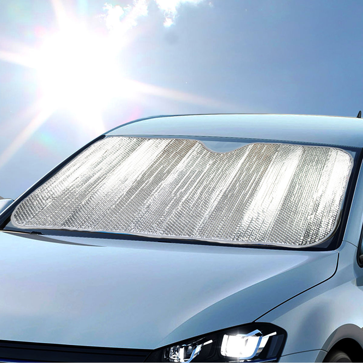 Details about Auto Sunshade Chrome Foil Reflective Sun Shade for Car Cover  Visor Standard Size eb84e358eee